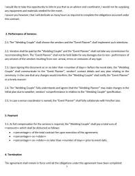 Event Planning Services Agreement Ne0268 Wedding Planning Service Letter Of Agreement Template English
