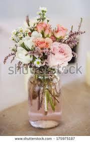 Mason Jar Table Decorations Wedding Mason Jar Roses Table Decoration Wedding Stock Photo 100 64