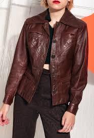70s vintage leather jacket in brown