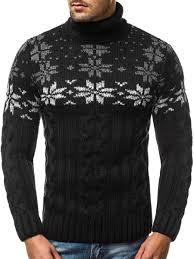 "Vyriškas megztinis aukštu kaklu juodos spalvos ""Snow"" цена   pigu.lt"