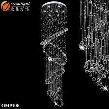 china stair hanging spiral crystal pendant chandeliers lamps om9100