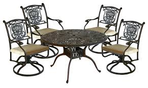 balm 5 piece outdoor patio cast aluminum dining set with 54 round table mediterranean outdoor dining sets by paca home and patio