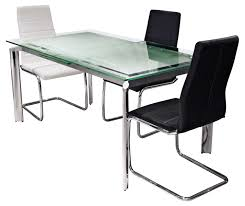 stainless steel kitchen table and chairs. Steel And Glass Furniture. Rectangle Modern Expandable Dining Table Set With Stainless Base Kitchen Chairs C