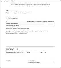 notarized letter blank notarized letter for proof of residency template pdf format