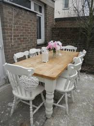 diy shabby chic dining table and chairs. beautiful shabby chic pine table and 8 chairs farrow \u0026 ball | ebay diy dining i