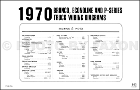 1970 ford bronco econoline and p series foldout wiring diagrams table of contents page