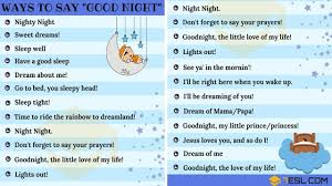 Good Night Text 30 Cute Ways To Say Good Night 7 E S L