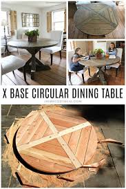 a diy tutorial to build an x base dining table with a circular top a