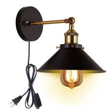 kiven metal wall sconce 1 light fixture e26 base ul plug in cord lighting vintage industrial