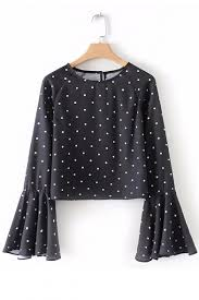 Sleeves Pattern Cool Fancy Polka Dot Pattern Round Neck Bell Sleeves Cropped Blouse