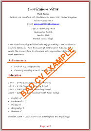 Cv Examples Example Of A Good Cv Biggest Mistakes To