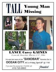 Lance Gaines, Missing Ocean City Maryland, http://www ...