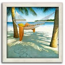 framed beach picture of a hammock hanging between two palm trees and ocean in the background on coastal life canvas wall art with canvas coastal wall art beach house art framed beach pictures