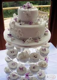 Pink Vintage Look Wedding Cake White Violet 2 Tier Wedding Cake