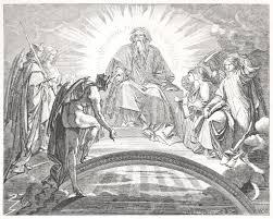 神と ファウスト における 3 つの天使の前でメフィスト ストック