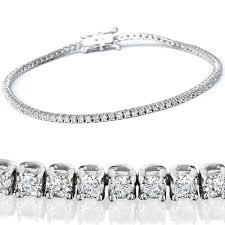 "2 1/2ct Diamond Tennis Bracelet <b>Solid 14K White Gold</b> 7"""