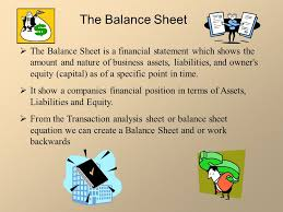 the balance sheet is a financial statement which shows the amount and nature of business