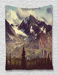 Mountain Decor Accessories Amazon Alaska Mountains Tapestry Decor by Ambesonne Arctic 33