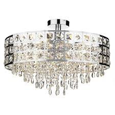 ss six light pendant in polished chrome with crystal drops