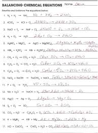 balancing equations worksheet chemical of sufficient