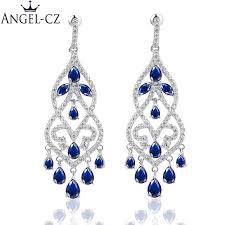 2018 angelcz brand ear jewellery fancy chandelier drop inlay royal blue austrian crystal evening party big earrings for las ae100 l18101106 from tong06