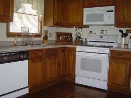 kitchen design white cabinets white appliances. White Appliances With Oak Kitchen Cabinets Design E