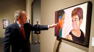 former president george w bush gives a tour of his gallery of warrior oil paintings