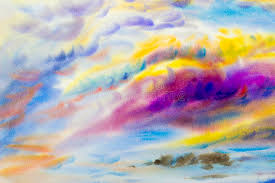 watercolor landscape original painting on paper colorful of beauty in nature with cloud sky and emotion in ozone fluffy