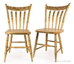 chairs pair windsor thumb back side chairs paint decorated arrow spindles likely new york city circa 1815 to 1825 fine hand painted decoration
