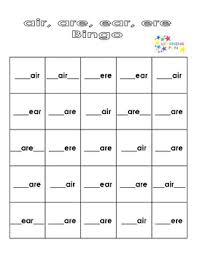 Are, air, ea, ear, ear, eer. Sounds Like Air Bingo Air Are Ear Ere By Learning Fun Tpt