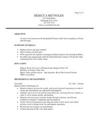 tourism sample resume