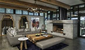 Interior:Rustic Log Cabin Interior Design With Natural Stone Wall Ideas  Modern Rustic Interior Design