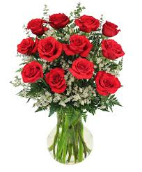 red roses and wispy whites clic dozen roses