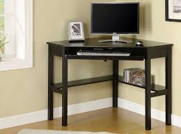 Black Painted Oak Wood Corner Computer Desk Which Equipped With Storage  Shelves, Awesome Corner Desks
