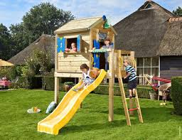 w o wooden playhouse with slide jungle playhouse l