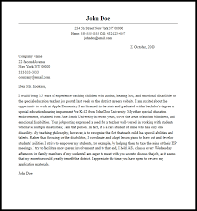 Sample Education Cover Letter Professional Special Education Teacher Cover Letter Sample