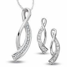 t w journey diamond twist pendant and earrings set in 10k white gold