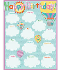 Learning Resources Birthday Pocket Chart Up And Away Birthday Chart