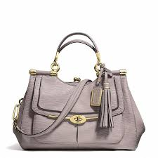 ... Grey Leather Satchel Bags Coach Madison Pinnacle Carrie Satchel In  Textured Leather ...
