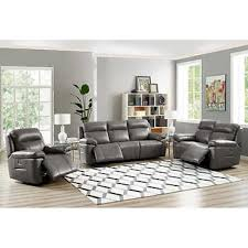 Atticus 3piece Top Grain Leather Set With Power Recline Headrest And  Lumbar Leather Couch Costco G59