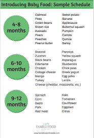 Introducing New Foods To Baby Chart Homemade Baby Food Introducing Solids Schedule Family Food