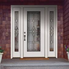 white single front doors. Exquisite Contemporary Front Doors Design Exterior Presenting White Single Entrance Door With Double Side And Lovely Flower Glazing Ideas V