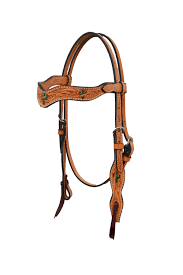 2117 y golden wave style headstall with cactus tooling