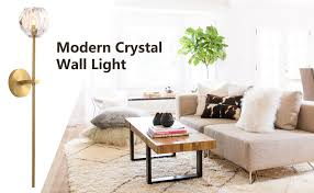 NOXARTE Modern <b>K9 Crystal Wall</b> Sconce Lighting Brass Body ...