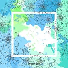 mint green watercolor blue flowers