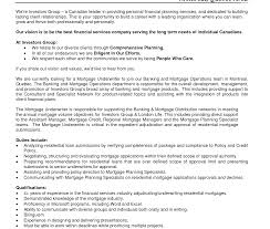 Cover Letter Mortgage Underwriter Resume Templateurance Sample
