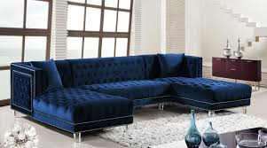 moda blue sectional sofa  meridian furniture sectional sofas at