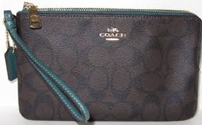 Coach Brown Dark Turquoise Signature Double Zip Large Wristlet Wallet  F16109 NWT