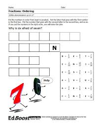 Fractions: Ordering (unlike denominators) Puzzle | EdBoost
