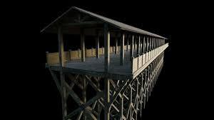 Wooden Bridge Game 100D model Flat Wooden Bridge With GameReady Version VR AR 45